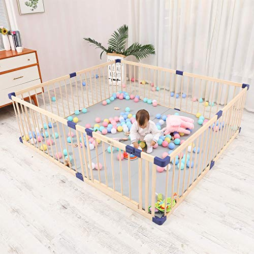 Kids Baby Toddler Playpen Indoor Portable Wooden Freestanding, Kids Baby Pet Cats Dogs Animals Toy Play Fence with Door,Safe Zone Playpen,Baby Safety Play A Perfect Birth Birthday Gift(180x200x61cm)