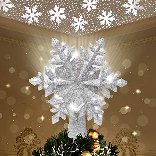 Joiedomi Glitzernde silberfarbene Schneeflocke Baumspitze für Weihnachtsbaumschmuck, Zuhause, Party, Hochzeit, Schlafzimmer, Innendekoration