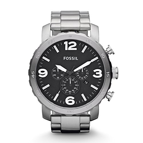 Fossil Men's Nate Quartz Stainless Chronograph Watch, Color: Silver (Model: JR1353)