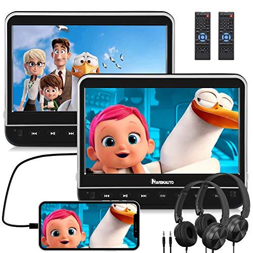 NAVISKAUTO Lettore dvd auto poggiatesta con cuffie per bambini, due schermi da 10.1 pollici, supporta HDMI/ MP4/ 1080P/ Regione free/AV-IN/OUT/USB/SD/DVD/CD/MKV/AVI, 18 mesi di garanzia