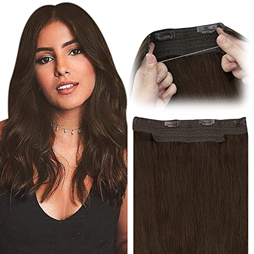 Fish Line Hair Extensions Brown Remy Human Hair Extensions #4 Chocolate Brown Secret Hidden Wire Hair Extensions Straight Human Hair Piece 80G 18 inch