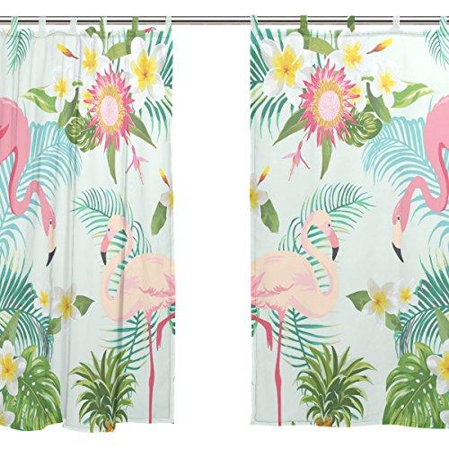 JSTEL Lot de 2 rideaux de fenêtre en voile Motif flamants roses 140 x 198 cm