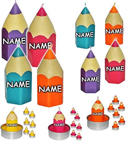 12 TLG. Set _ Teelichter / kleine Kerzen -  Bunte Stifte - bunter Farbmix  - incl. Name - 5 cm hoch - Schuleinführung / Geburtstagskerzen - Stift - Schulanf..