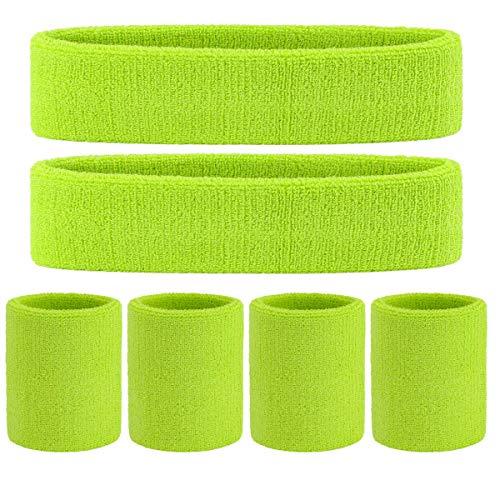 OnUpgo Juego de bandas para el sudor, juego de muequeras deportivas (6 unidades) bandas para el sudor, muequeras de tela de rizo, bandas para el sudor