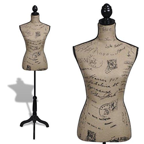 mewmewcat Mis à Niveau Buste de Couture Mannequin de Femme Marron et Noir Jute