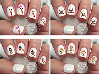 80 Holiday Faces Snowman Turkey Scarecrow Christmas Thanksgiving Fall Nail Decals/Nail art