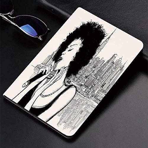 Funda para iPad (9,7 pulgadas, modelo 2018/2017, 6.a / 5.a generación) Funda inteligente ultradelgada y ligera, decoración afro, American Jazz Music Girl actuando frente a New York Manhatt, fundas int