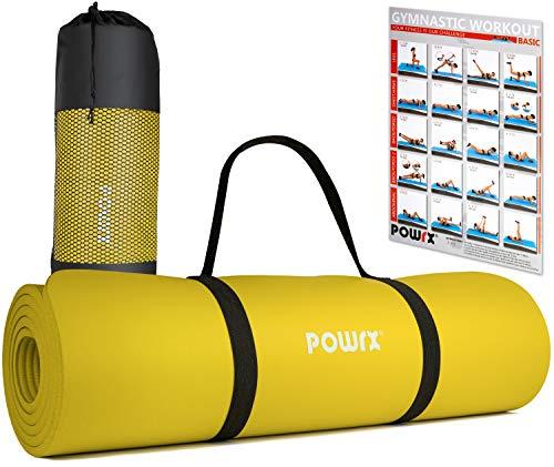 POWRX Tappetino Fitness 183 x 60 x 1 cm - Tappeto Palestra Ideale per Ginnastica, Yoga e Pilates - Ecocompatibile con Tracolla e Sacca Trasporto - Antiscivolo + PDF Workout (Giallo)