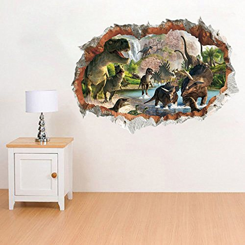 ufengke Dinosaurs in the River Wall Art Stickers 3D Special Effect View Outside the Cracked Wall Decorative Removable DIY Vinyl Wall Decals Living Room, Bedroom Mural
