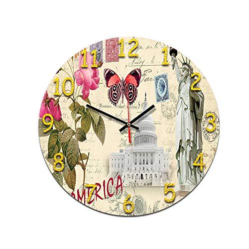 LUOYLYM Sala De Estar Minimalista Nórdica Reloj De Pared Retro Digital Mudo De Acrílico Inicio Reloj De Moda Creativo Reloj De Alarma Sin Bordes P190430-154 28cm