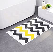 Microfiber Mat Rug Bath Mat Non-Slip Pad with Yellow and Grey Stripes for Kitchen Indoor Rugs Bathroom Mats