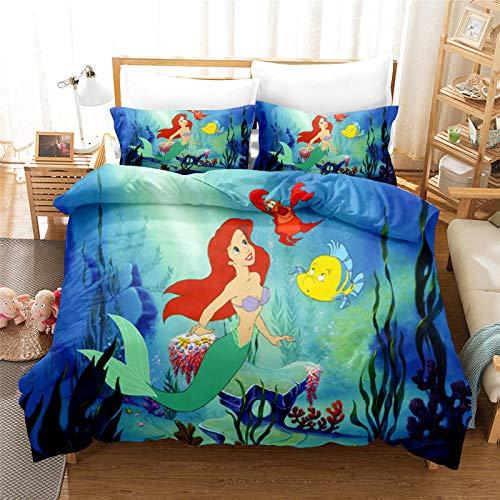 SMNVCKJ Ropa de cama de Disney Princesas Disney 3D, impresión digital, microfibra, Ariel ropa de cama dibujos animados para niños y niñas (2, Super King 220 x 260 cm)