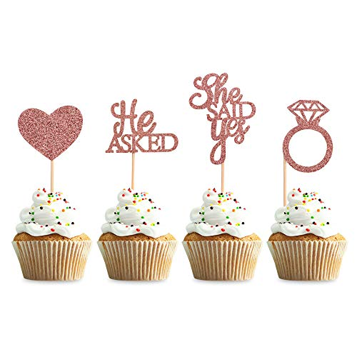 Blumomon 48Pcs Rose Gold Glitter He Asked She Said Yes Cupcake Toppers...