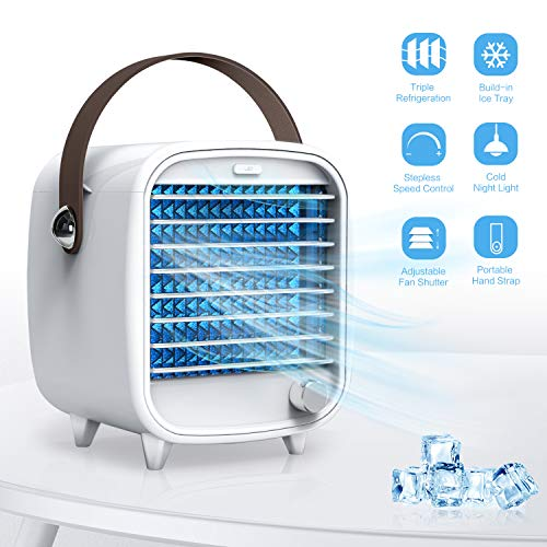 Portable Air Conditioner Fan, SmartDevil Personal Air Cooler with Ice Tray, Mini Desk Cooling Fan for Home Office Bedroom, Super Quiet, Night Light Features (White)