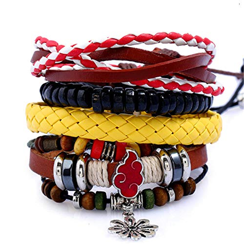 ABWEY Multilayer vintage leather bracelet DIY set multi-layer retro woven ladies PU hemp rope leather bracelet, can be combined and matched freely, suitable for girls' s-Two