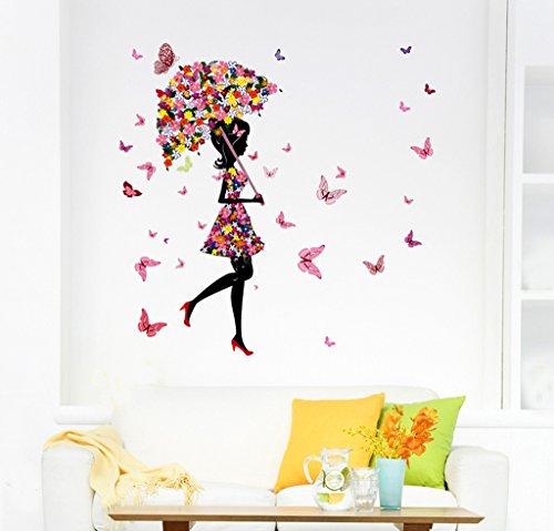 Decals Design 'Floral Umbrella Girl and Butterflies' Wall Sticker (PVC Vinyl, 50 cm x 70 cm x 1 cm,...