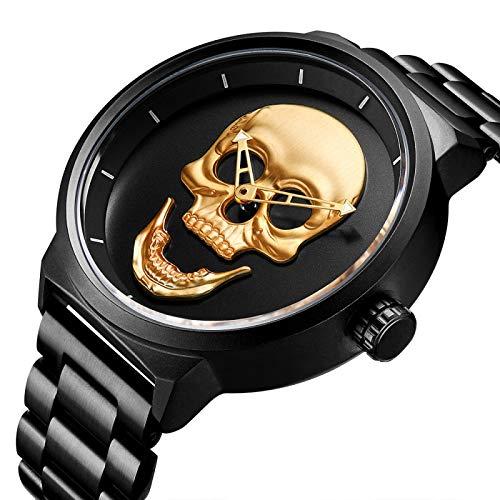 CXJC Reloj de Acero Inoxidable de 3atm a Prueba de Agua, Reloj de Cuarzo del cráneo Hueco Personalizado, dial Grande Redondo de 48 mm (Color : Oro)