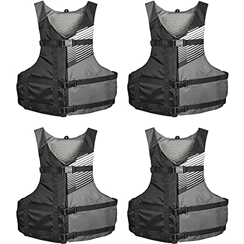 Stohlquist Fit Adult PFD Life Vest - Black + Gray, Universal Unisex Size Fitting - Easily Adjustable for Full Mobility, Lightweight Buoyancy Foam, PVC Free, Coast Guard Approved - Pack of 4