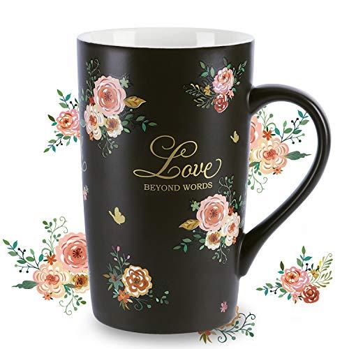 NymphFable Keramik Kaffeetasse Trinkbecher 18oz Liebe Blumen Lustige Teetasse Bunt Beste Freundin Geschenke