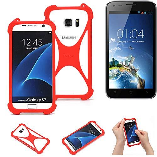 K-S-Trade Handyhülle Kompatibel Mit Kazam Trooper X5.0 Schutzhülle Bumper Silikon Schutz Hülle Cover Case Silikoncase Silikonbumper TPU Softcase Smartphone, Rot (1x)