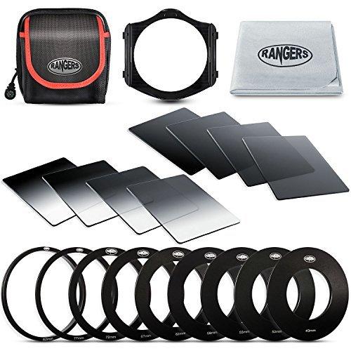 Rangers Verlaufsfilter Set Square Filter Kit für Cokin P Series, ND2/4/8/16, G.ND2/4/8/16, Filtertragetasche, 9 Adapterringe (49-82mm), 1 Adapter Halter, Reinigungstuch