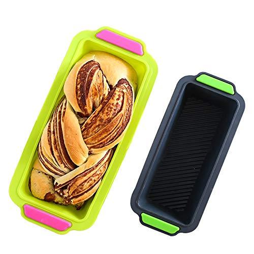 Mouwa Rechteckige Silikon Laib Pfanne, Antihaft-Mini-Brot Kuchen Backform Dosen 12X4x2.5in Mikrowelle Zum Backen Von Bananenbrot Fleisch Laib Pfund Kuchen