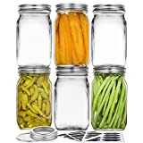 Vtopmart Wide Mouth Glass Mason Jars 32 oz, 6 Pack Glass Canning Jars with Metal Airtight Lids and Bands, for Meal Prep, Food Storage, Canning, Preserving, Drinking, Overnight Oats, DIY Projects