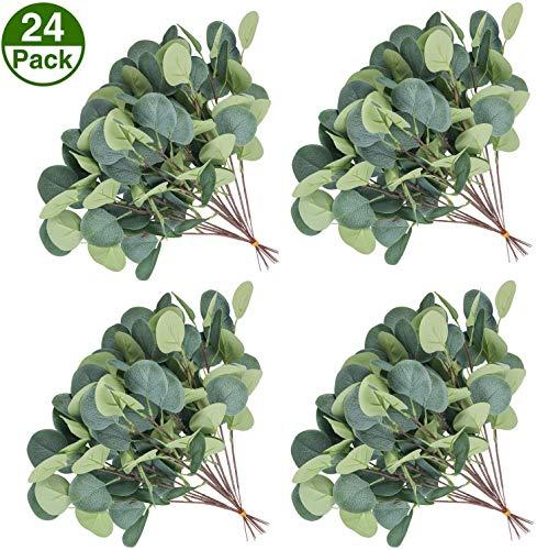 U'Artlines - 24 hojas artificiales de eucalipto, ramas de eucalipto secas sintéticas, plantas de plástico para decoración de vegetación artificial de 14,2 cm de alto