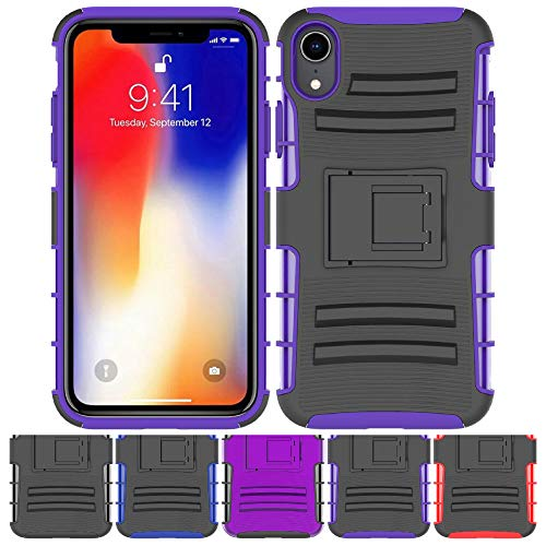 iPhone XR Stand Case, HLCT Rugged Shock Proof Dual-Layer Case with Built-in Kickstand (Black Purple)