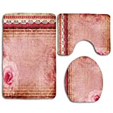 Shabby Flora Marco de estilo vintage con bordes inspirados en encaje Conjunto de alfombras de baño con estampado de rosas rosadas a la antigua 3 piezas Alfombra de baño antideslizante Contorno, tapete