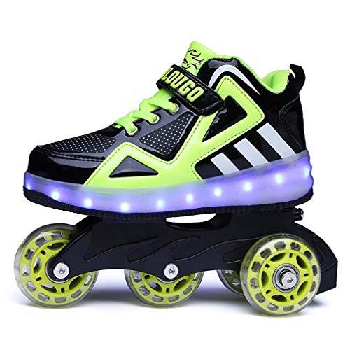 tewun Rollschuhe für Mädchen Jungen Kinder LED Blink Skate Sneaker Schuhe mit Rädern, komfortable High Stripping-Oberfläche