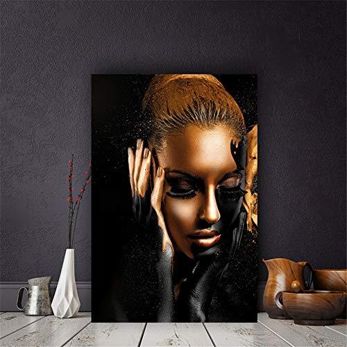 Danjiao Abstrakte Leinwand Malerei Schwarz Gold Afrika Frau Modell Kunst Poster Leinwandbild Drucke Gemälde Für Wohnzimmer Wandkunst Dekor Wohnzimmer 60x90cm