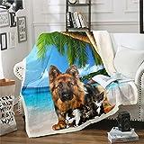 Loussiesd Manta de felpa para sofá, cama, palmera, ultra suave, decoración hawaiana, verano, playa, brillante, para bebé, 76 x 106 cm