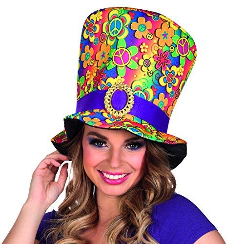 NET TOYS Chapeau Hippie années 70 - Multicolore   Haut-de-Forme Flower Power   Gibus années   Accessoire de Costumes 60s
