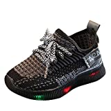 Baby Boys Girls LED Light Up Flashing Sneakers Shoes, Summer Comfortable Soft Knit Footwear for Toddler/Little Kid Black