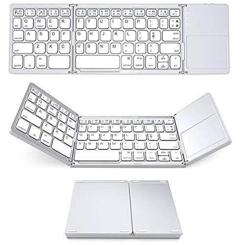 Teclado plegable triple inalámbrico con bluetooth mini portátil oficina ultra delgado portátil teclado portátil con panel táctil para iOS, Android, Windows (blanco)
