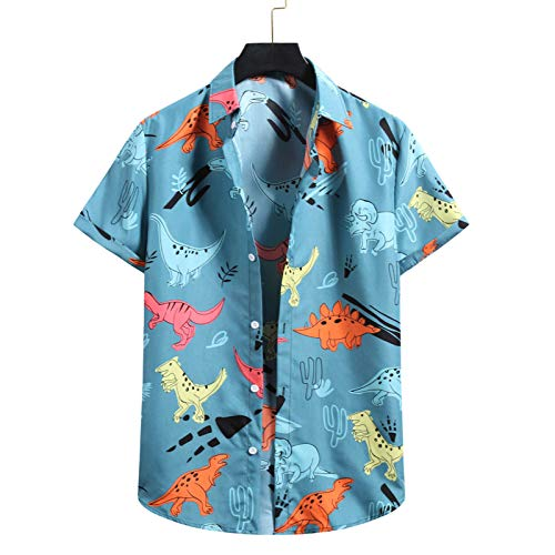 Xmiral t Shirt Stampe Blusa Camicia Camicie da Notte estive Magliette Maglie Maglietta Camicia da Uomo Manica Corta Hawaiian Beach Flower (L,12Blu)