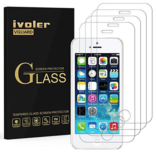 ivoler [4 Unidades] Protector de Pantalla para iPhone SE 2016 / 5S / 5 / 5C, Cristal Vidrio Templado Premium [9H Dureza] [Alta Definicion 0.3mm] [2.5D Round Edge] - Transparente