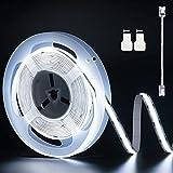 PAUTIX Tira de luces LED COB Daylight White 6500K, 6M Cinta de luz LED flexible súper brillante, DC24V para dormitorio, cocina con 1 cable de extensión de conector (fuente de alimentación no incluida)