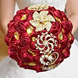 WIFELAI-A Dark Red Wedding Flowers Bridal Bouquets Rhinestone Brooch Flowers Crystal Bride Holding Bouquet White Ivory Satin Roses with Diamond Pearl Ribbon (Dia:8.26inchH:10inch Dark Red W227Q-10)…
