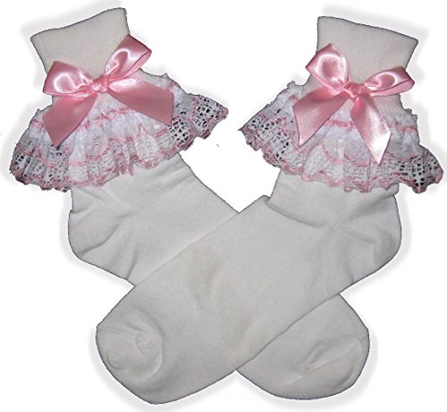 Pink White Lace Bows Lacy Socks for Adult Little Girl Sissy Boy Dress up Leanne (Mens)