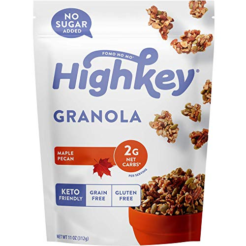 HighKey Keto Food Low Carb Granola Cereal & Clusters - Gluten Free Snacks & Breakfast Foods - Treats - Zero Added Sugar, High Protein Nut Snack - Diabetic, Paleo Healthy Diet Friendly Products