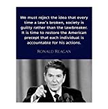 'Individuals Are Accountable'- Ronald Reagan Quotes Wall Art- 8 x 10' Inspirational-Presidential Portrait Print-Ready to Frame. Retro Home-Office-Bar-Garage-Man Cave Décor. Great Patriotic Gift.