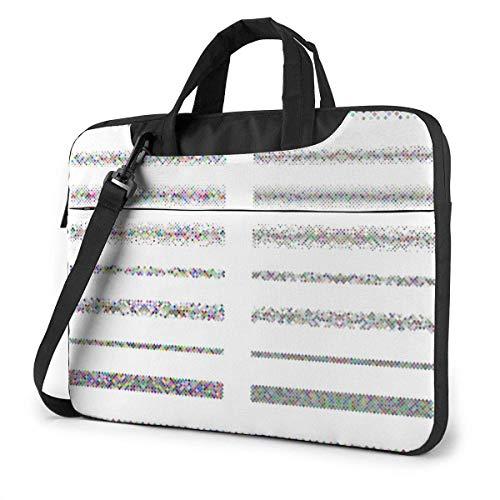 15.6 inch Laptop Shoulder Briefcase Messenger Color Small Square Divider Line Design Pattern Tablet Bussiness Carrying Handbag Case Sleeve