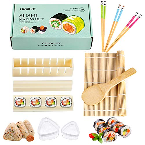 Nuokim Sushi Making Kit Bamboo Sushi Mat Complete Sushi Set with sushi rolling mat sushi maker tool triangle sushi rice mold chopsticks rice spreader DIY Home Sushi Tool Christmas Gift