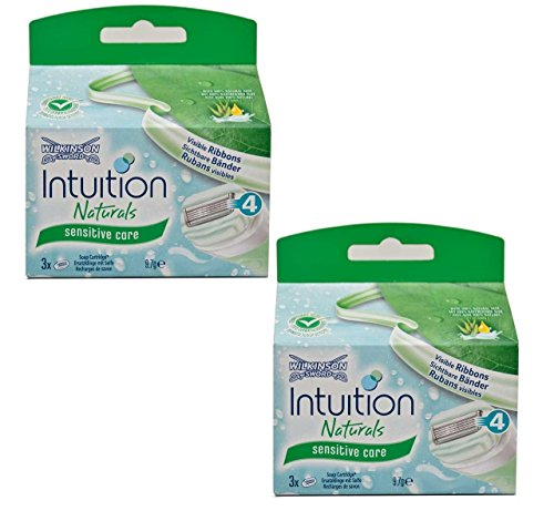 2x Wilkinson Intuition Naturals Sensitiv Care 3 Rasierklingen mit Seife und Aloe