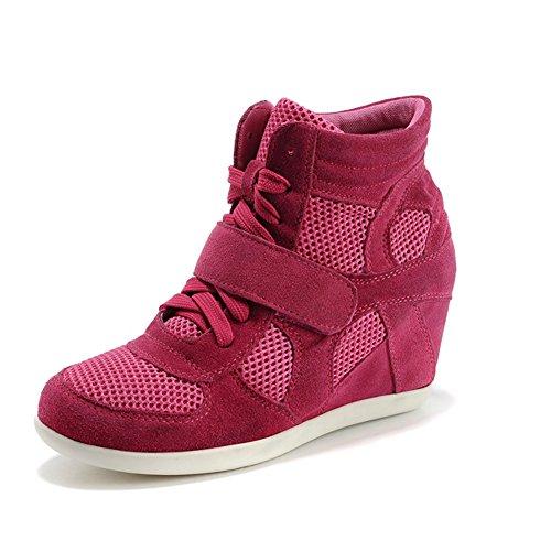 Rismart Mujer Zapatos Formal Oculto Tacón Cuña Gamuza Tela Zapatillas (Rosa,EU37)