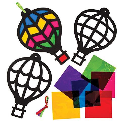 """Baker Ross Bastelsets für Deko-Anhänger """"Heißluftballons"""" mit Buntglas-Effekt (6 Stück) – für Kinder zum Zusammensetzen und Dekorieren"""