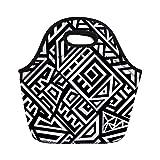 Bolsas de almuerzo con diseño étnico geométrico infinito, perfectas y tribales africanos de neopreno, aisladas, bolsa de almuerzo, portátil, para mujeres, niños, niñas y niños