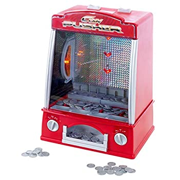 Hey! Play! Coin Pusher Miniature Arcade Game - Replica Classic Penny & Dime Dozer Table Or bar Top Prize Vending Machine for Kids & Adults  80-TX65214   Red
